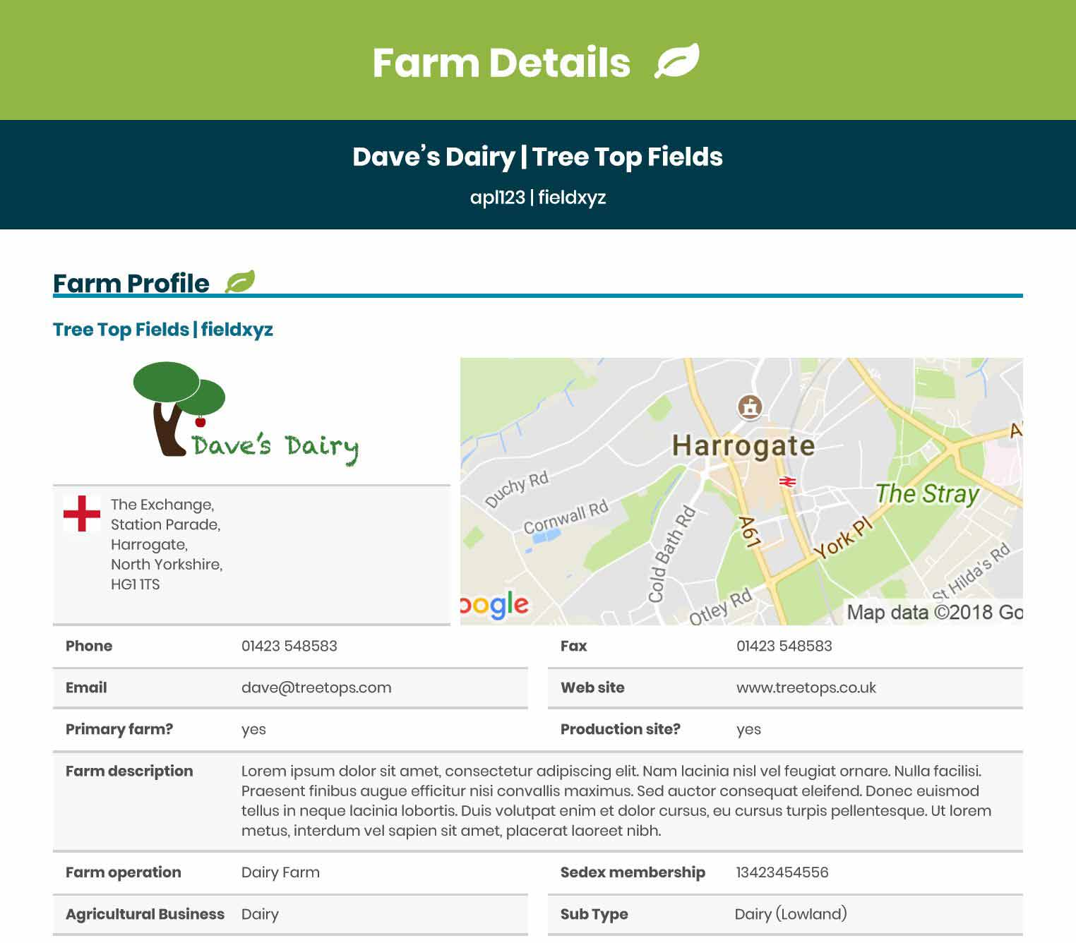 Data-packed profiles for suppliers and farms in your supply chain